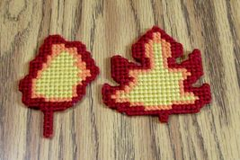 Plastic Canvas Autumn Leaf Magnets, Fridge Decor, Needlepoint, Handmade,... - $9.00
