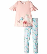 Mud Pie Baby Girl's Bunny Tunic and Leggings Set Infant/Toddler Pink 4T - $39.25
