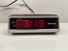 Vintage Westclox LED Alarm Clock 22648 Model Wood Grain Works/Tested - $24.18