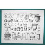 ROMAN Utensils Jewelry Scales Lamps Keys Dice Bathing Kits - 1870s Super... - $19.80