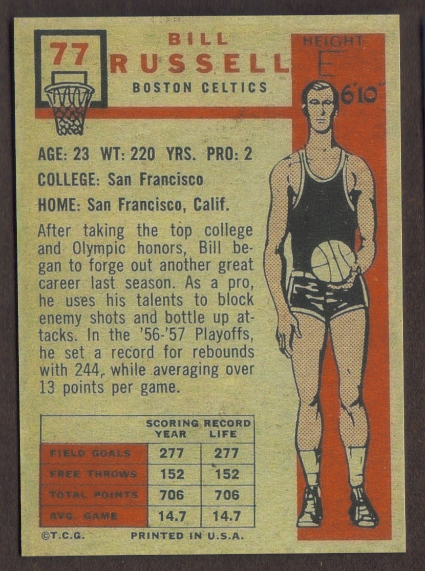 Bill Russell Rookie Card Rp 77 Celtics Rc And Similar Items