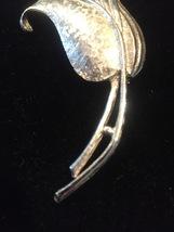 Vintage 60s large Silver Flower with long stem brooch image 3