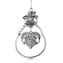 Inspired Silver Sheriff Pave Heart Snowman Holiday Christmas Tree Ornament With  - $14.69