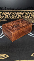 Hand Carved Triple Moon Goddess Wooden Altar Box, Wicca, Wiccan, Pagan, ... - $26.50