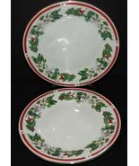 2 St Maria Lynns Fine China Salad Dessert Plates Christmas Holly  Berry ... - $25.73