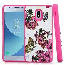 Butterfly Flowers Diamante Hybrid Case for SAMSUNG Galaxy J3 V 2018/Star/Achieve - $12.23