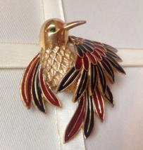 Rare Vintage Boucher Gold Tone Phoenix Bird Hinged Numbered Fashion Brooch - $75.00