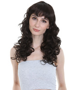 Adult Women Long Curly Glamour Party Event Cosplay Bright black Wig HW-656 - $29.85