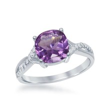 Women's Sterling Silver Cushion Cut Amethyst Ring Twisted Band - $99.99