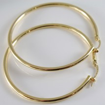 18K YELLOW GOLD ROUND CIRCLE EARRINGS DIAMETER 40 MM, WIDTH 2 MM, MADE IN ITALY image 1