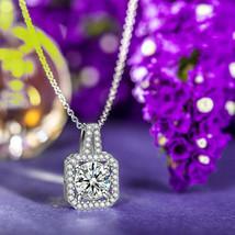 Sterling Silver (925) Sparkling Zirconia Triple Halo Drop Pendant Necklace - $9.79