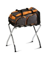 Chrome Luggage Rack Black Steel Polyvinyl Strong Travel Accessories Home... - $45.45