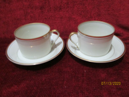 Fitz & Floyd Palais Buff  set of 2 cups and saucers - $7.87