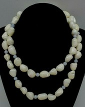 Vintage Pearl White Opal Polished Sea Shell Beaded Necklace Strand Stones Retro - $33.85