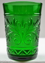 "Anchor Hocking Glass Sandwich Forest Green Pattern 9 Oz. Tumbler 4"" Glassware - $12.99"