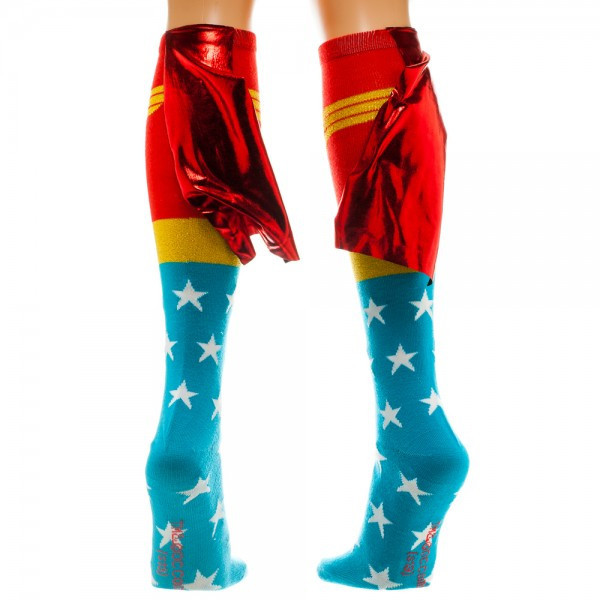 Wonder Woman Knee High Shiny Cape Socks