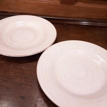 2 Tag Contemporary Stoneware Pottery Dinner Plates Cream Tan Swirl Dishe... - $9.99