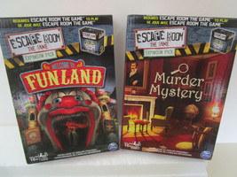 2 ESCAPE ROOM Spinmaster Game Expansion Packs FUNLAND & MURDER MYSTERY - $25.99