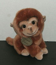 Retired Russ Yomiko Classics Chimp Brown Plush Monkey Leather Tag - $9.88