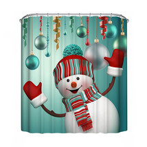 Christmas Shower Curtain Waterproof Polyester Printed Bathroom Decor With Hooks - $29.06