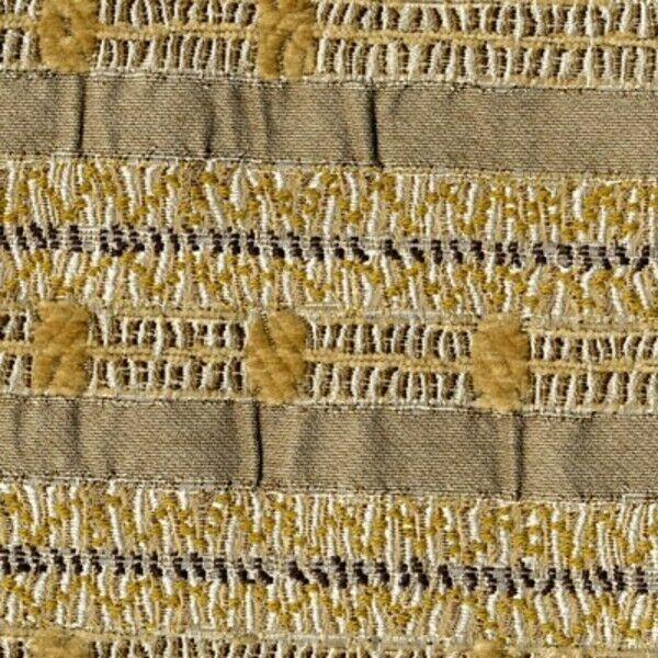 Donghia Station Stripe Bone with Gold Upholstery Fabric 1.25 yards 05935-008  FA