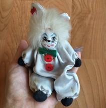 "Vintage Porcelain Cat Human Clown Doll Scary Cloth Body 5.5"" Long - $11.29"