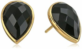 Daniela Swaebe 18K Gold-Plated Faceted Black Onyx Drop Pear Shape Earrings