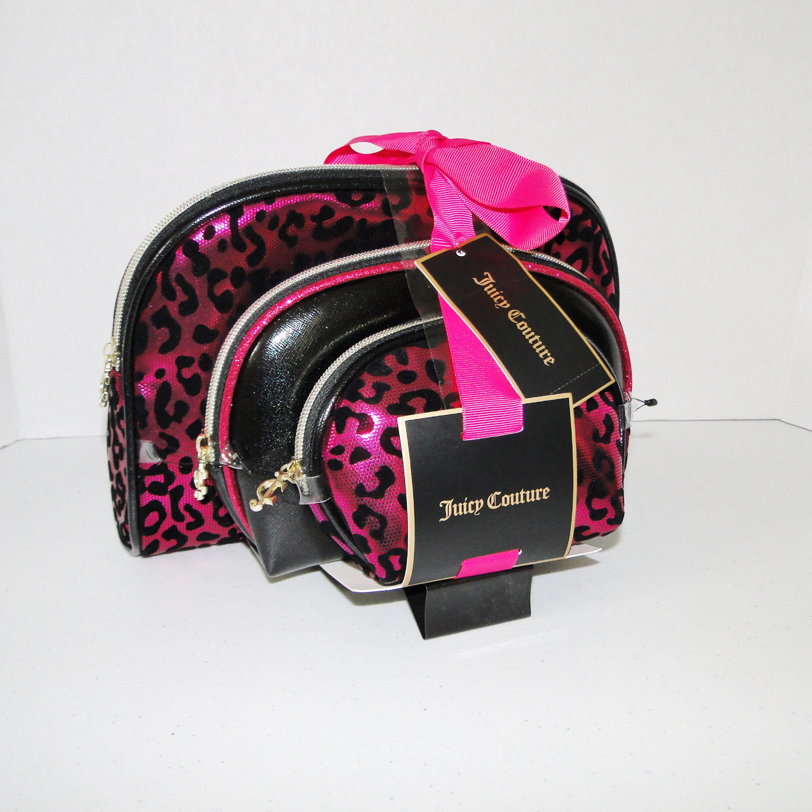 Juicy Couture Leopard Pink & Black Cosmetic Travel Case Set