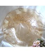 Vintage Jeanette Iris Herringbone Ruffled Bowl Peach Marigold Depressio... - $24.99