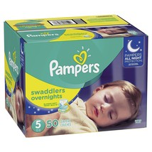 Pampers Swaddlers Overnights Disposable Diapers  SUPER 50 Count  Size 5 - $34.92