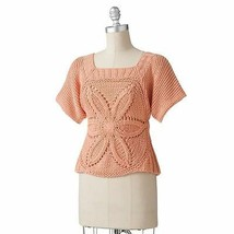 $58 Women Trendy Floral Crochet Open Work Sweater Knitted Top Dolman Blo... - $25.99