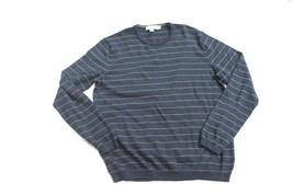CALVIN KLEIN Navy & Gray Striped Crewneck Sweater Shirt Sz M Wool Blend - $14.85