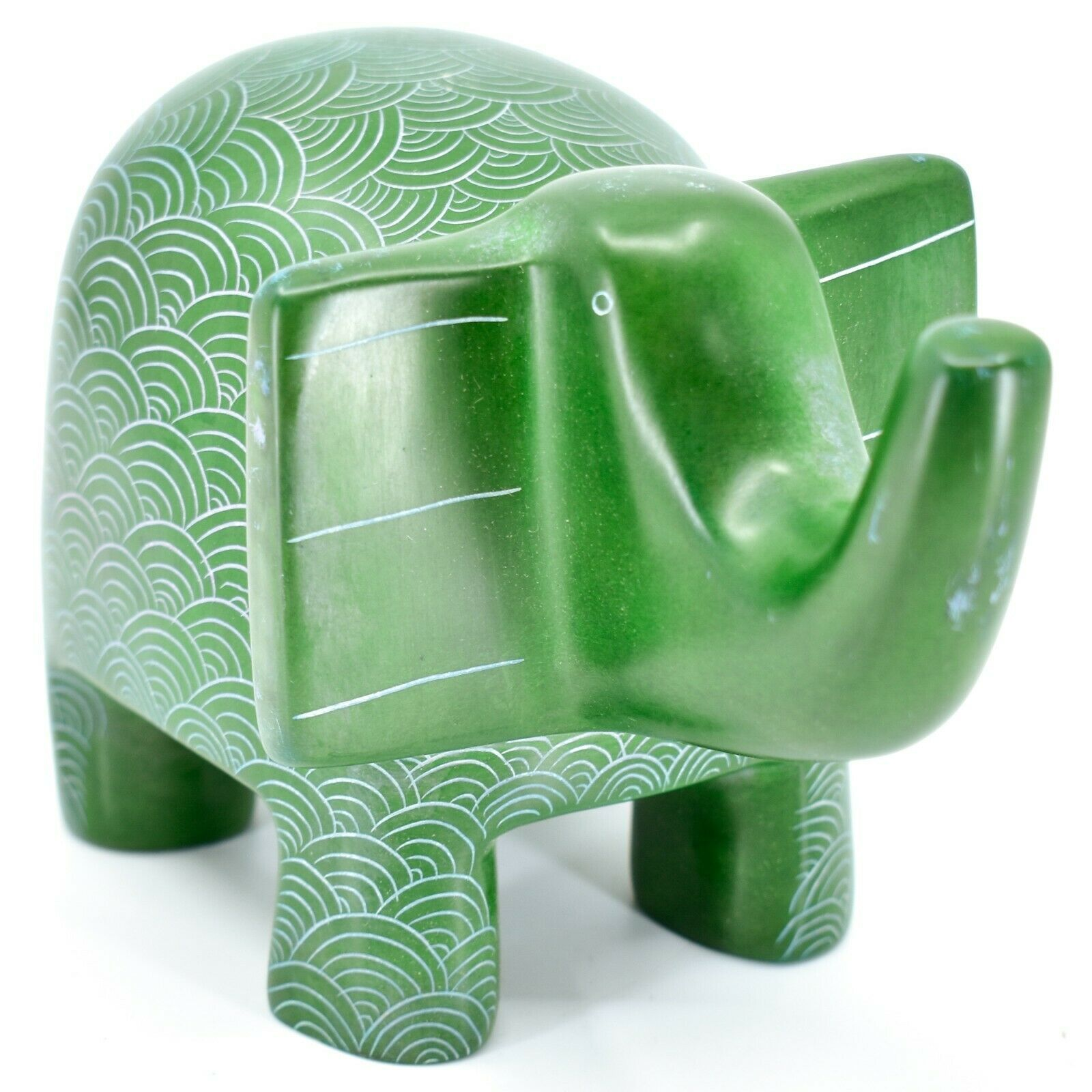 Vaneal Group Hand Crafted Carved Soapstone Large Heavy Green Elephant Sculpture