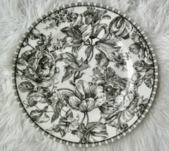 222 Fifth Black Toile Dinner Plates Set of 4 Floral Fine China Discontinued - $55.00