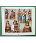 INDIANS of Oregon California Costume Fashion - COLOR Litho Print by A. R... - $9.45