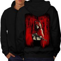 Girl Hunter Wild Fantasy Sweatshirt Hoody Scary Wolf Men Hoodie Back - $20.99+
