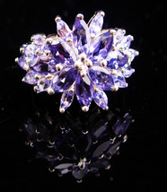 Amethyst Ring  / statement ring / Cocktail setting / Vintage purple Ring... - $185.00