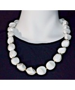 Vintage White Lucite Plastic Abstract Bead Beaded Gold Tone Choker Neckl... - $19.80