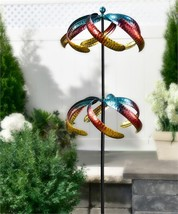 "60"" Iron Celestial Design Dual Wind Spinner Double Pronged Garden Stake NEW"