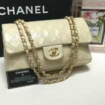 Auth CHANEL Classic Flap Shoulder Bag Light  Beige Matelasse Vintage Chain B4878 - $1,782.00