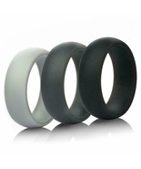 Thunderfit Silicone Rings Wedding Rings 3 Pack Gray, Dark Gray and Black... - $12.12