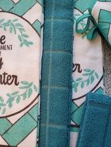 Kitchen Set 11pc Towels Dishcloths Mitts Placemats, Live Joy Laughter, Turquoise image 6
