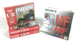 Lot Of 5, 3 Maxwell Normal Bias UR 90, 2 Sony 60 Min. Blank Cassette Tape New - $11.87