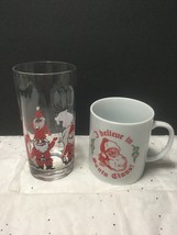 Vintage Pair of Christmas Mug + Drinking Glass Tumbler W Santa Reindeer ... - $8.95