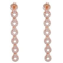 Dainty Sterling Silver 14K Rose Gold Vermel Cz Open Circle Long Dangle Earring - $48.51