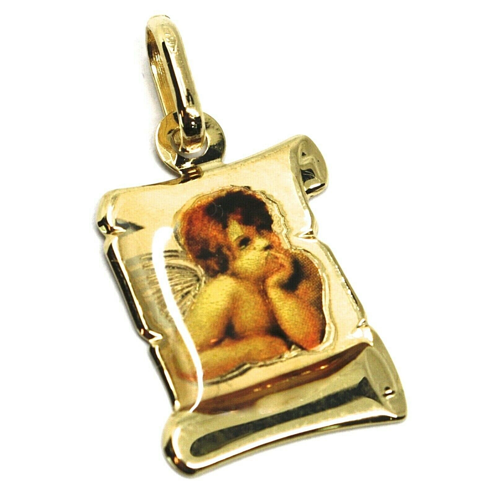 Pendant Medal Yellow Gold 750 18K, Angel Guardian Parchment with Enamel