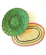 Woven Wicker Green Basket Placemat Lot Wall Decor Basket Wall - $14.84