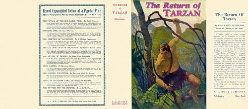 Edgar Rice Burroughs THE RETURN OF TARZAN replicate dust jacker, A. L. Burt ed.
