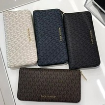 NWT MICHAEL KORS MK LOGO PVC JET SET TRAVEL XL TRAVEL WALLET WITH GIFT R... - $67.99