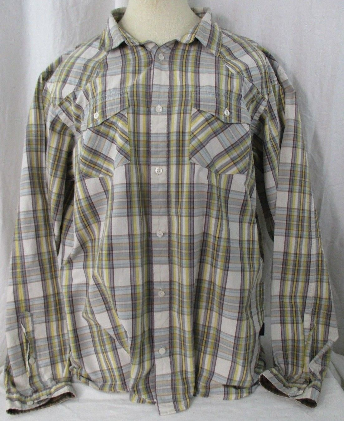 Primary image for Men PATAGONIA ORGANIC COTTON  Yellow White Gray Lt.Brown LS Button Front Tag XL
